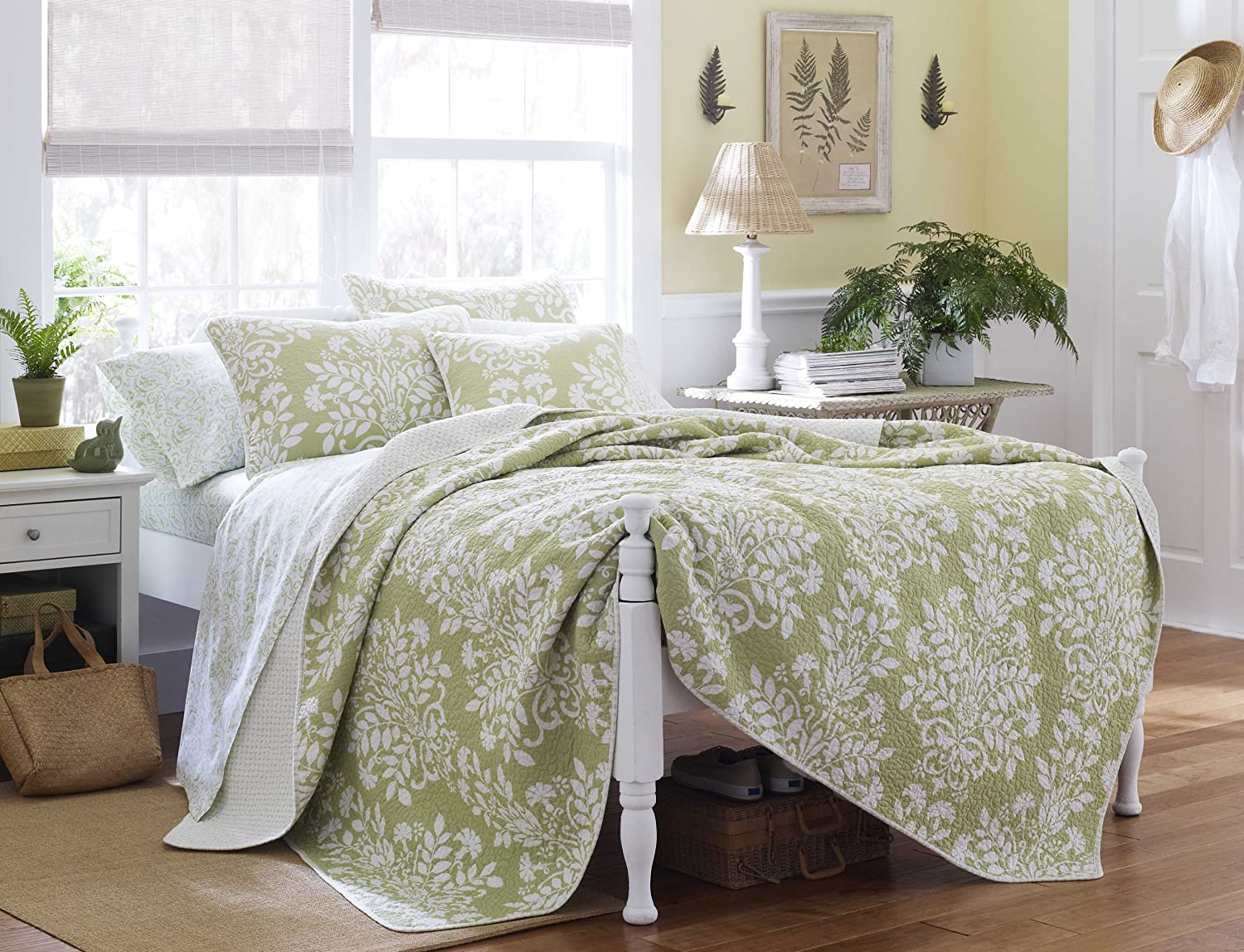 Laura Ashley Rowland Quilt Set, King, Sage