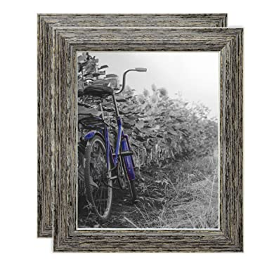 Americanflat 2 Pack - 8x10 Tan Rustic Picture Frames - Built-in Easels - Wall Display - Tabletop Display