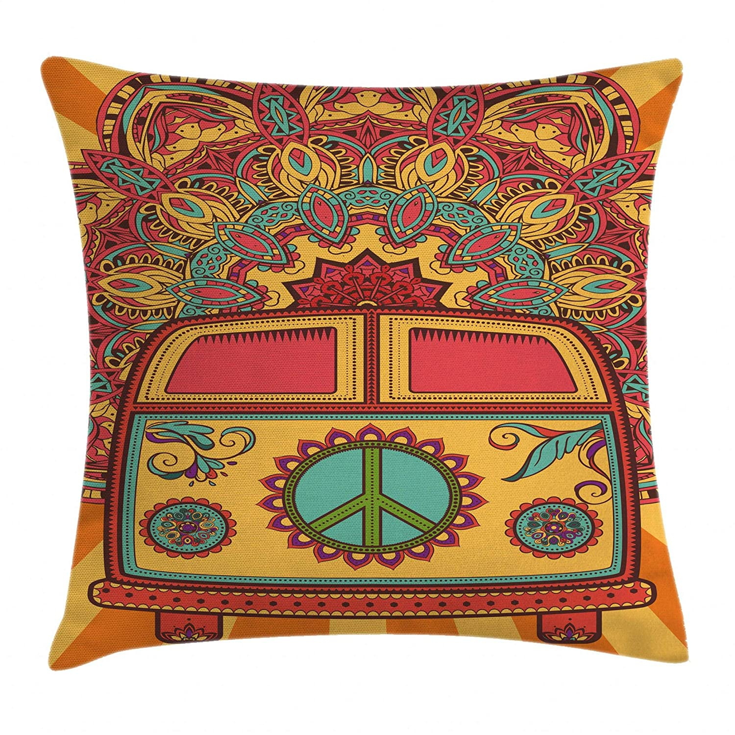 """Ambesonne 70s Party Throw Pillow Cushion Cover, Hippie Vintage Mini Van Ornamental Backdrop with Peace Sign Artwork, Decorative Square Accent Pillow Case, 16"""" X 16"""", Coral Orange"""