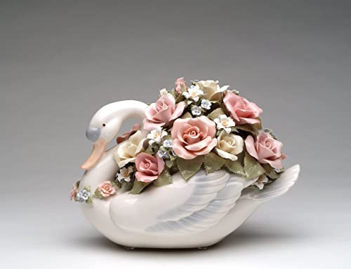 Cosmos Gifts SA49104 Fine Porcelain Large Swan with Abundant Blossom Pink Rose Flowers Musical Figurine Tune Swan Lake , 7-3 4 H 10-3 8 L