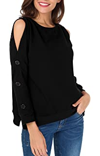b8dc7a1dd Blooming Jelly Womens Cold Shoulder Asymmetrical Tops Waffle Knit ...
