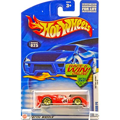 Hot Wheels 2002 First Editions Red Ferrari P4 #025 Race/Win Card 1:64 Scale: Toys & Games