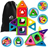 Discovery Kids Magnetic Tile Set Building Blocks Construction Kits 25 Piece in 6 Colors, STEM Educational Logic, Creativity & Imagination Toy Kit Preschool Storage Bag Included [Upgraded Version]