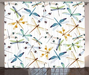 Ambesonne Dragonfly Curtains, Moth Butterfly Like Bugs in Watercolor Print Modern Minimalist Design Art Print, Living Room Bedroom Window Drapes 2 Panel Set, 108