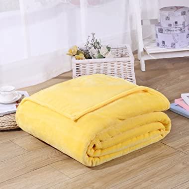 Super Soft Velvet Plush Throw, Fleece Flannel Bed Couch Throw Warm Blanket, Popular Neutral Colors, 59  X 79  (yellow)