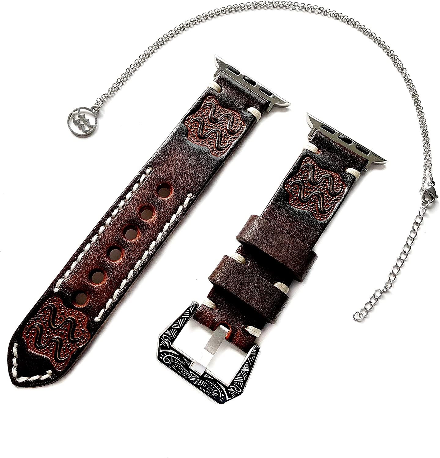 """Aquarius Zodiac Band Set Compatible with Apple Watch 38mm 40mm 42mm 44mm iWatch 1 2 3 4 Series Brown Leather Embossed Strap and 25"""" Necklace (1. Engraved Silver Color Buckle, 42mm Watch Case Size)"""