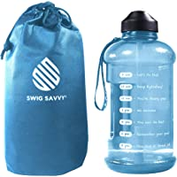 Botella de agua motivadora con popote y marcador de tiempo para asegurar que bebes suficiente agua diariamente, a prueba…