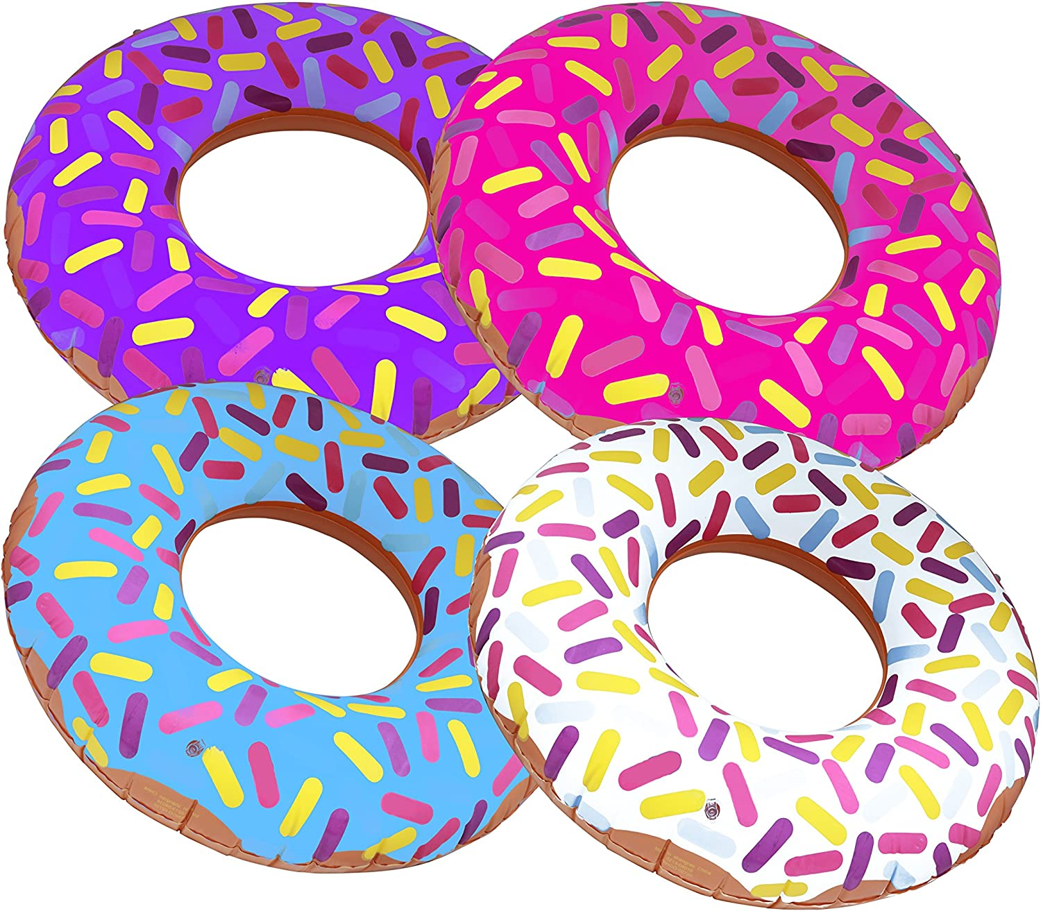 "Inflatable Donuts 24"" - Pack of 4 Delicious Looking Sprinkle Donut Inflatables"