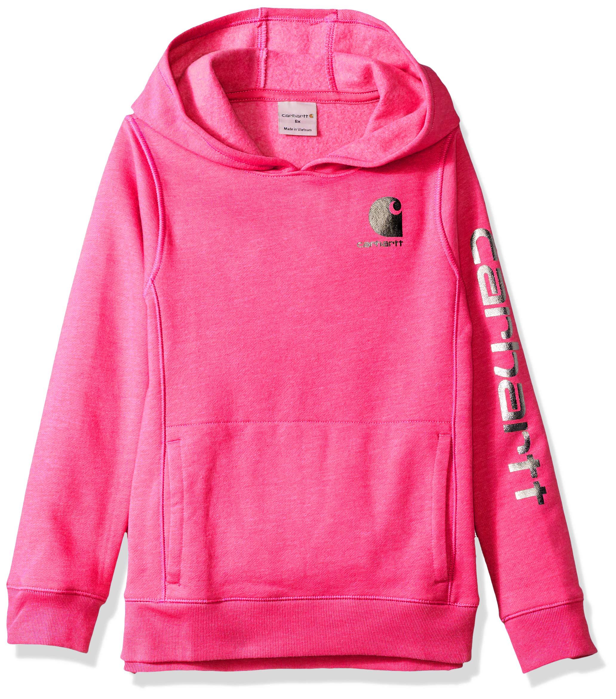 Carhartt Little Girls' Long Sleeve Sweatshirt, Fuchsia Purple Heather, 5
