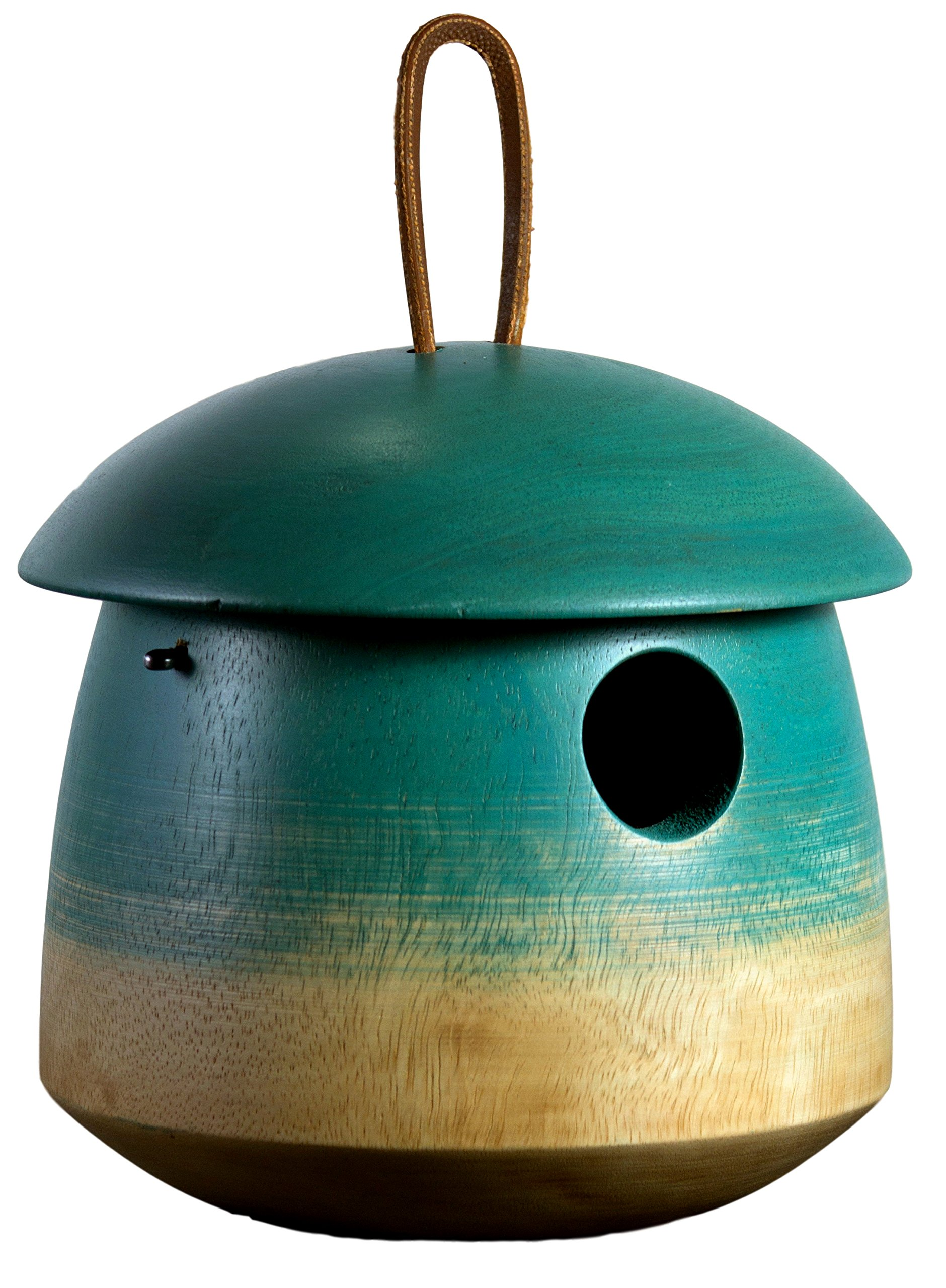 """Tumble Bird Home, Mango Wood, Painted, Sized for Small Songbirds, Blue, 6""""x6""""x6"""", 1⅛"""" Opening"""
