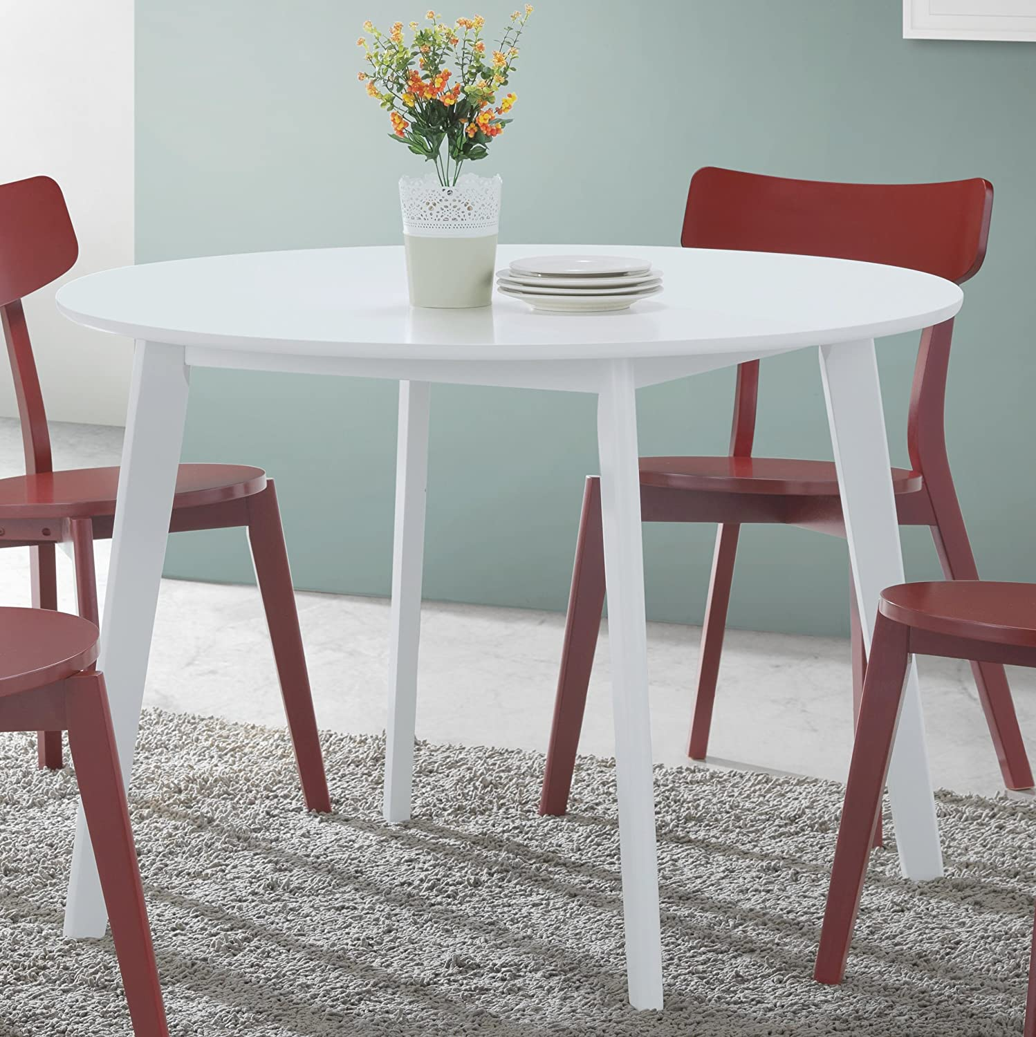 Roundhill Furniture Roma Contemporary Round Dining Table, White