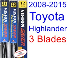 2008-2015 Toyota Highlander Replacement Wiper Blade Set/Kit (Set of 3 Blades