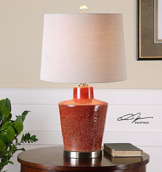Amazon.com: Con textura grande Lámpara de mesa de cerámica ...