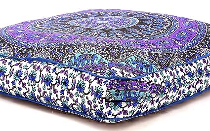 Funda de almohada Bhagyoday fashions de suelo de mandala india Almohada de suelo otomana. Sofá