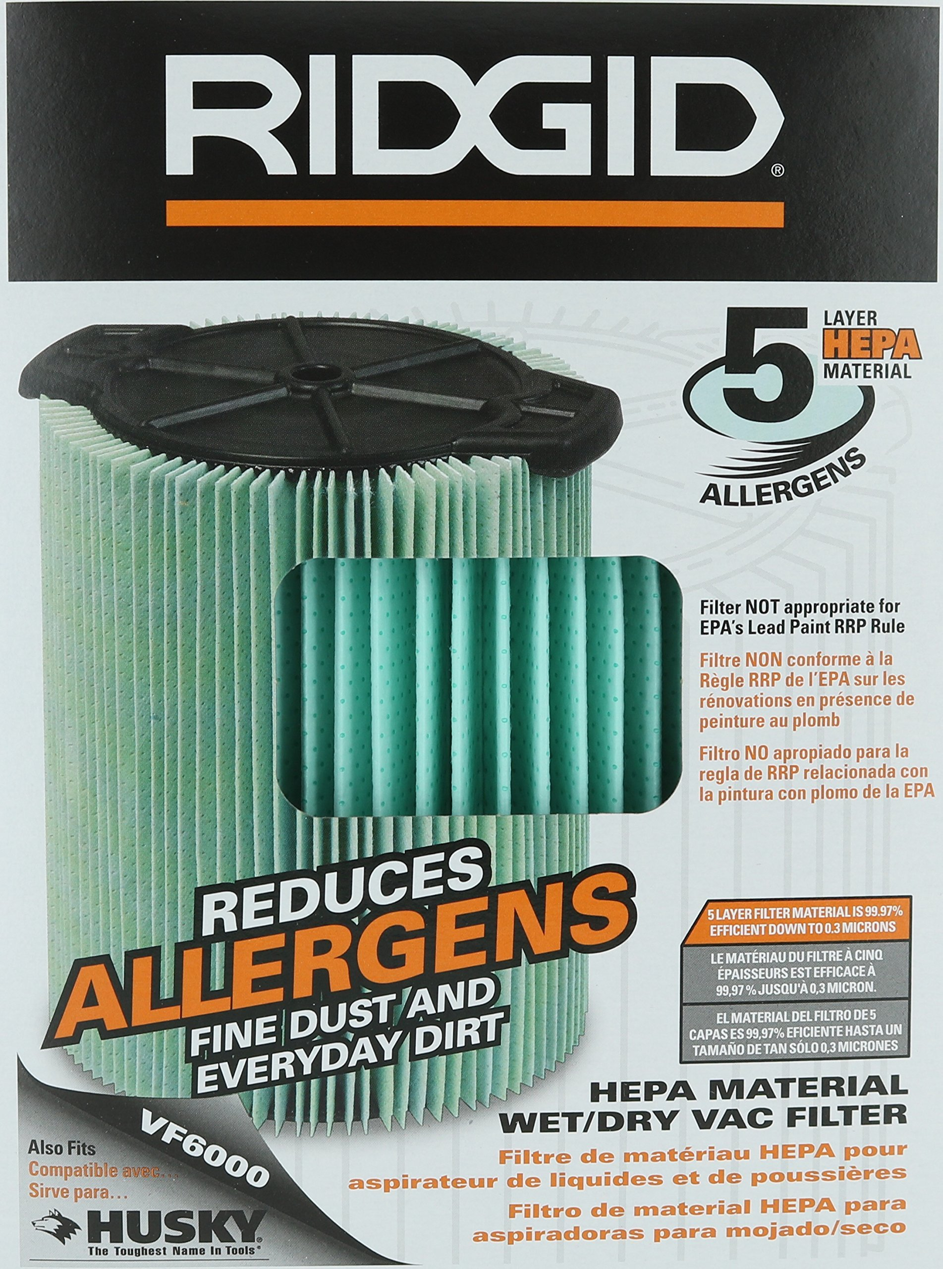 Ridgid VF6000 Genuine Replacement 5-Layer Allergen, Fine Dust, and Dirt Wet/Dry Vac Filter for Ridgid 5-20 Gallon Vacuums by Ridgid
