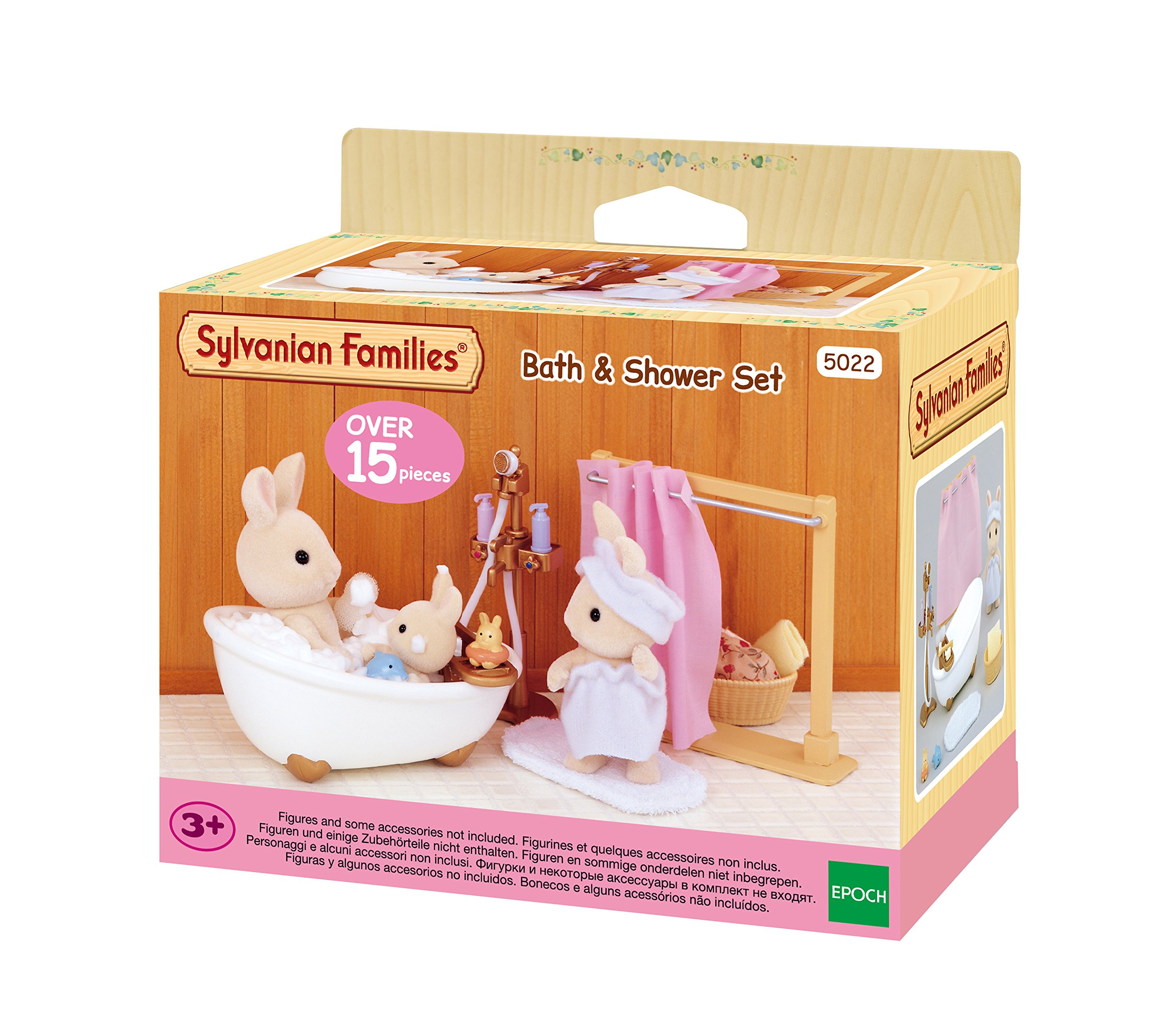 Sylvanian Families-5022 Animales Set baño y Ducha, Color Assorted Colours, Blanco (