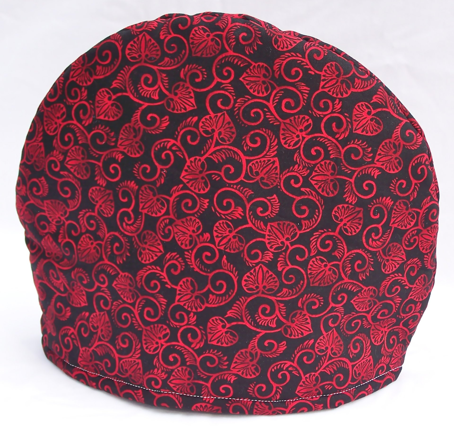 Fabric Tea Cozy - Lined and Padded For Warmth - Red and Black French Toile
