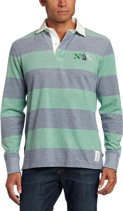 Nautica Mens LS Rugby Polo Shirt