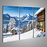 Tableau Tableaux sur toile paysage de montagne Winter Wonderland dans les Alpes avec chalet de montagne traditionnel Grand Format - XXL - Images Impression Image - Motif moderne - Décoration - Photo DPU