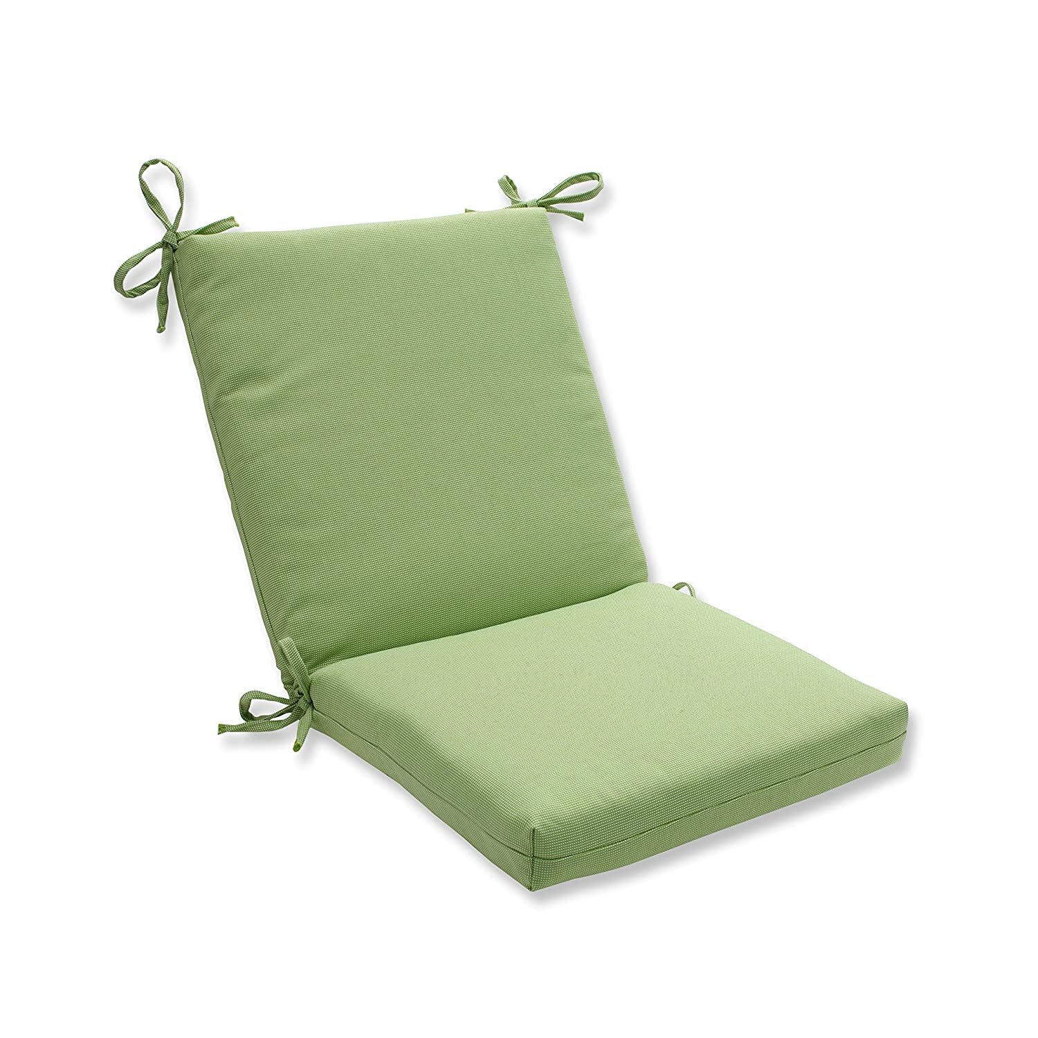 Pillow Perfect Outdoor Indoor Tweed Squared Corners Chair Cushion, Lime