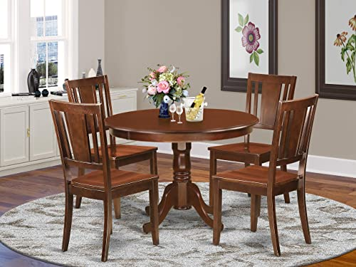 East West Furniture 5-Pc Dining Room Set Included a Round Kitchen Dining Table and 4 Wood dining Chairs