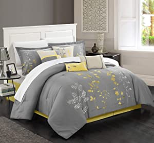 Chic Home 8 Piece Bliss Garden Comforter Set, Queen, Yellow