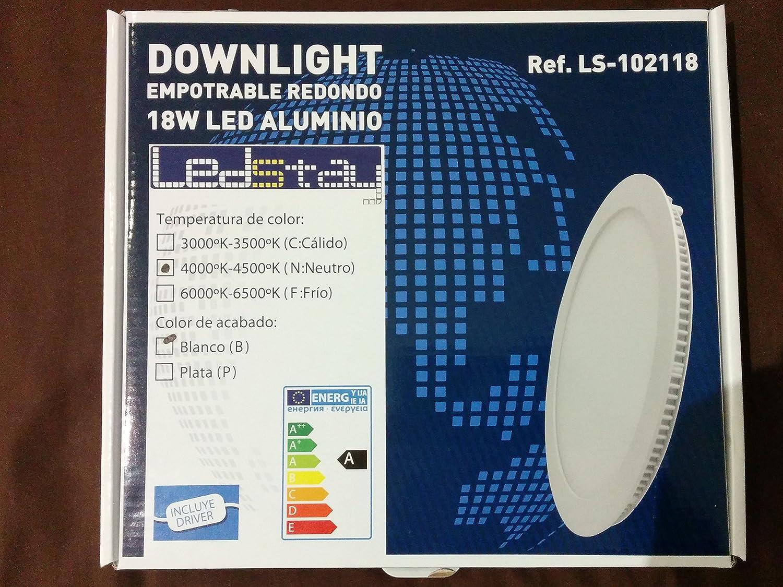 DOWNLIGHT LEDSTAY LS-102118 - Led redondo empotrable, 18W, hasta 1620 lúmenes 220V, acabado blanco, luz calida (3200 K): Amazon.es: Iluminación