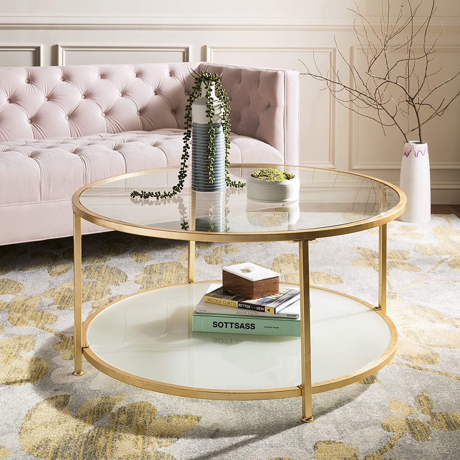 Surprising Safavieh Cof6203A Home Collection Ivy Gold 2 Tier Round Coffee Table Ocoug Best Dining Table And Chair Ideas Images Ocougorg