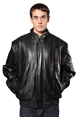 Wilda Men's Classic Leather Bomber at Amazon Men's Clothing store: