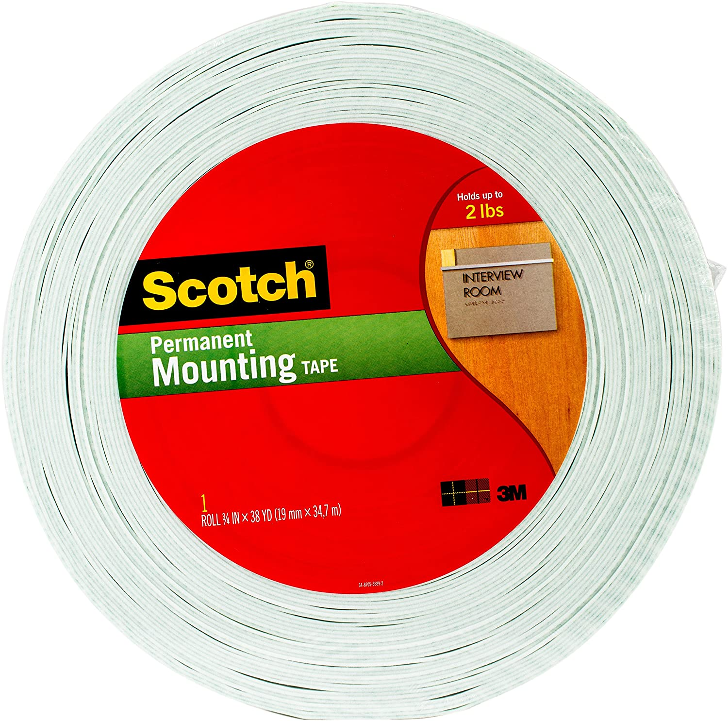 Scotch Indoor Mounting Tape, 3/4-inch x 38-yards, White, 1-Roll (110-MR) 3M Office Products