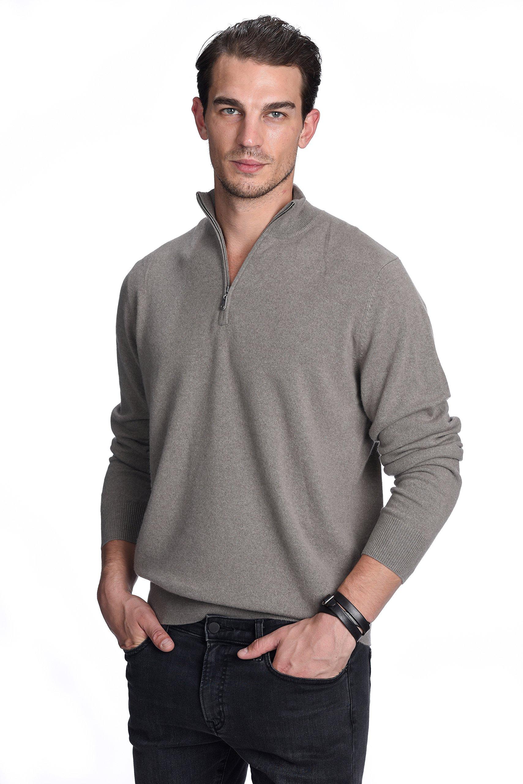State Cashmere Men's 100% Pure Cashmere Pullover Half Zip Mock Neck Sweater (Small, Brown)
