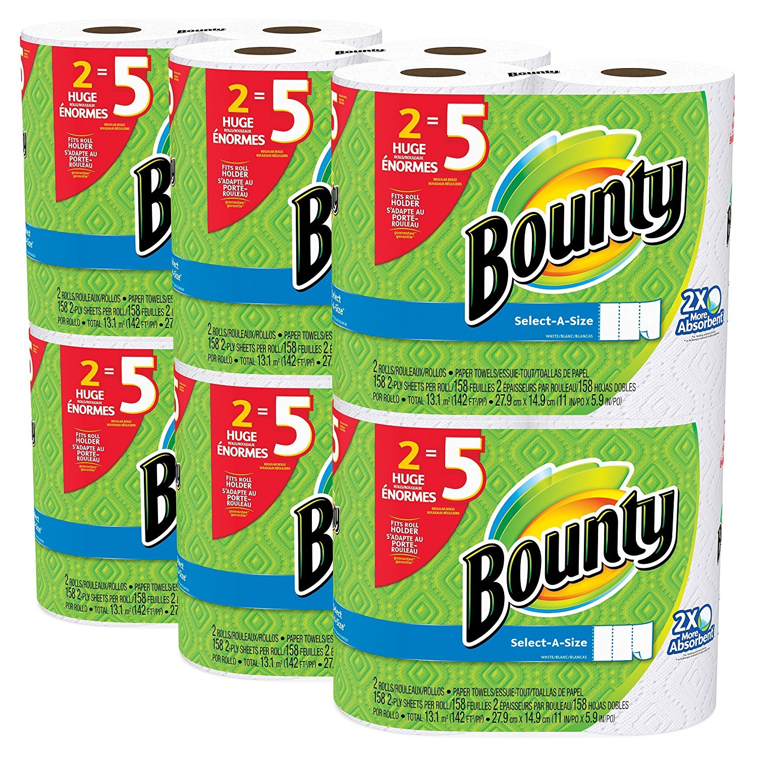 Bounty Paper Towels, Select-A-Size, 12 Huge Rolls (30 Regular Rolls). X3