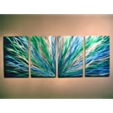 Metal Wall Art, Modern Home Decor, Abstract Wall Sculpture Contemporary- Blue Green Radiance by Miles Shay