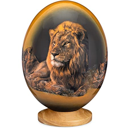 Premium Decorated Ostrich Egg with Wooden Display Stand – Decorative Painted Large Ornamental Eggshell – Various Designs for Display, Conversation Piece Lion