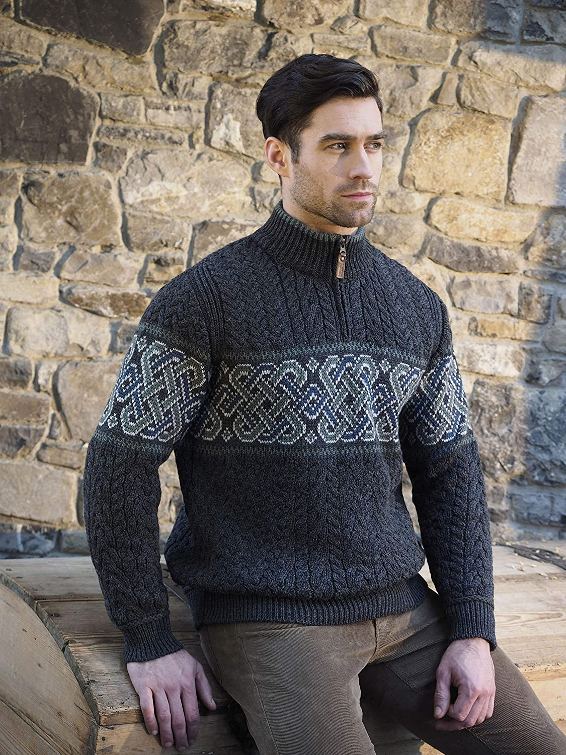 46ad36be021f Amazon.com  Carrolls Irish Gifts Men s Half-Zipped Jacquard Sweater with Celtic  Knitted Design