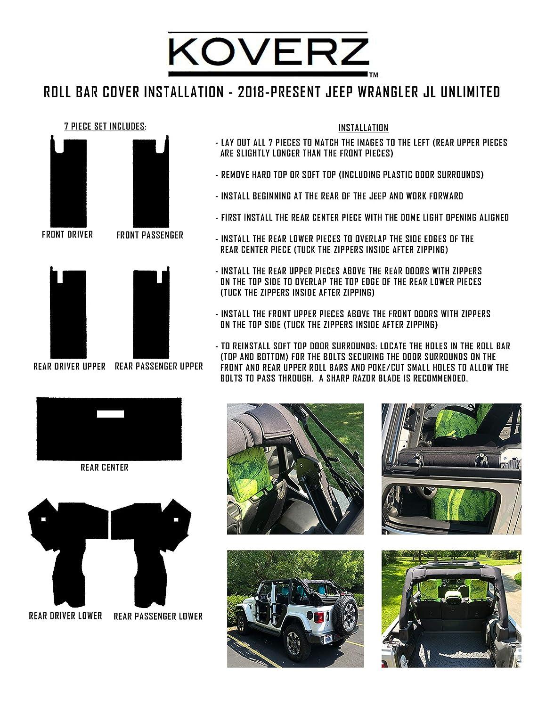Red Koverz Jeep Wrangler Roll Bar Cover Padding JL Unlimited 4-Door Neoprene JL JLU 2018-Present