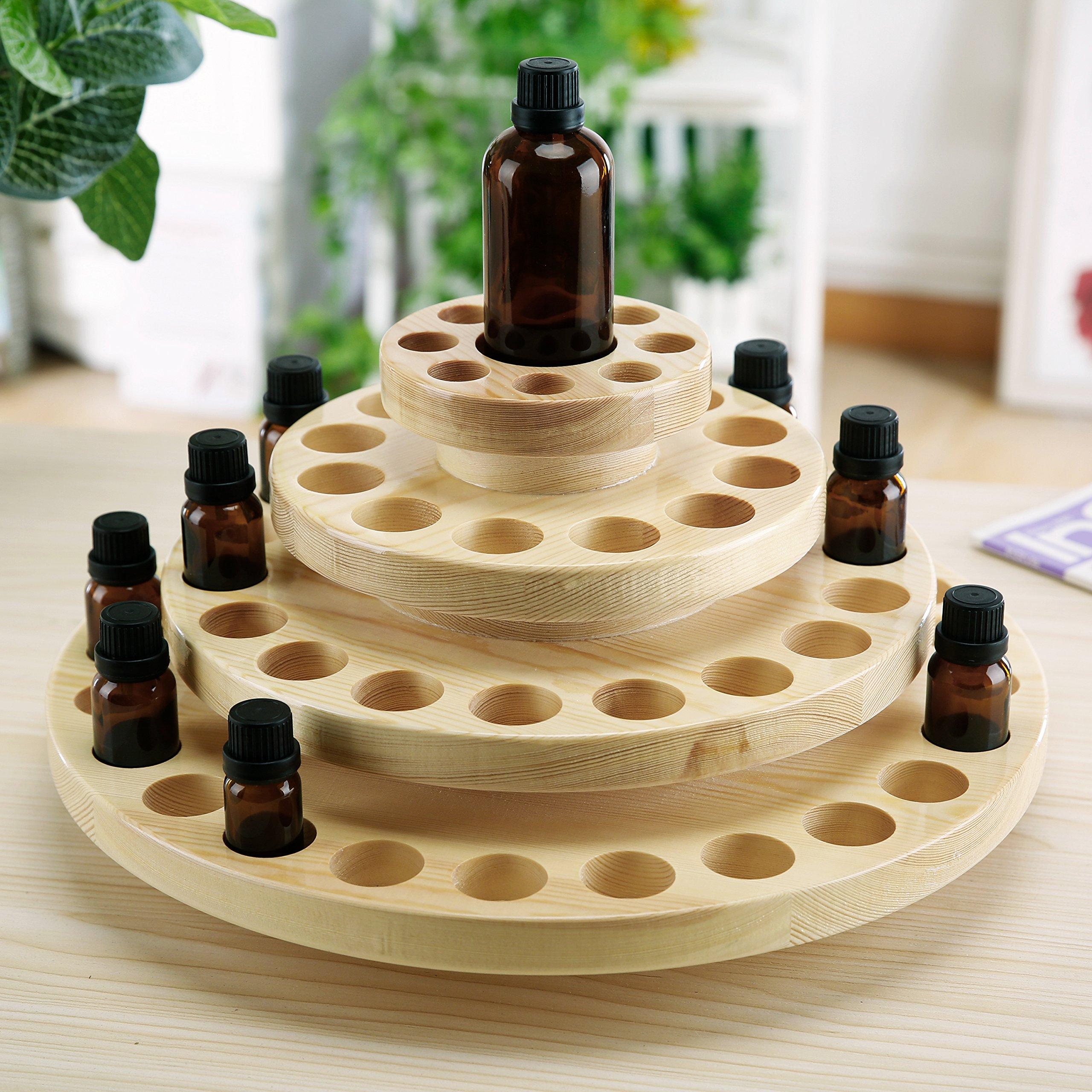 4 Tier Natural Wood Round Rotating Essential Oil Bottles Storage Display Rack