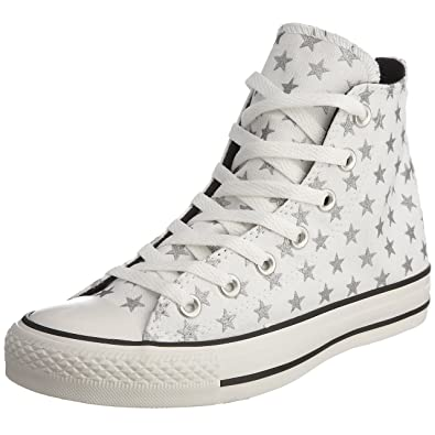 Converse Unisex Chuck Taylor AS Repeat Star Print Hi Lace-Up White Silver  3819a93e58