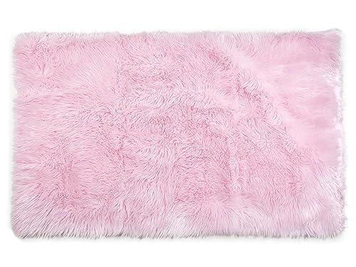 Tadpoles Faux Fur Rug, Pink, 4×6 Feet