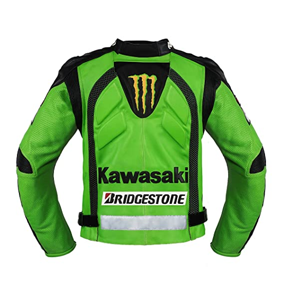 Amazon.com: Kawasaki Green Racing Team Leather Jacket (without a hump) (XL (EU56)): Automotive
