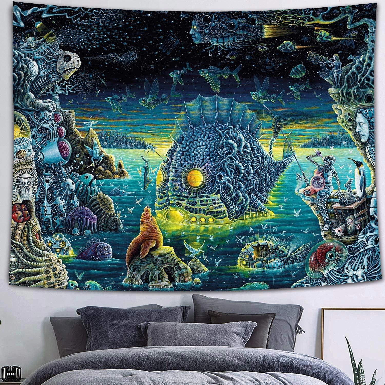 Trippy Jellyfish Mushroom Tapestry Art Wall Hanging Hippie Tapestries Home Decor