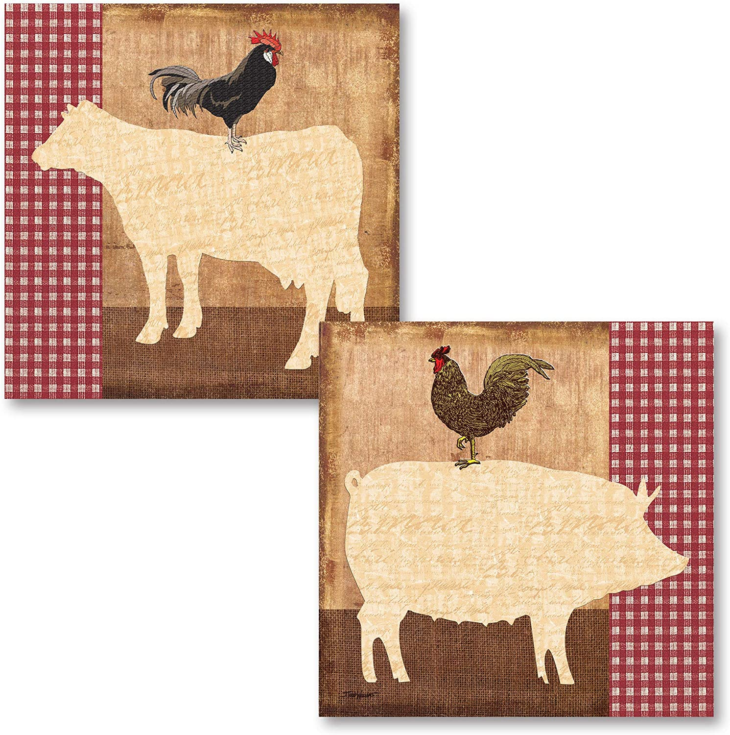 Amazon Com Fun Retro Farm Animals Pig Cow And Rooster Kitchen Decor Two 12x12 Poster Prints Posters Prints