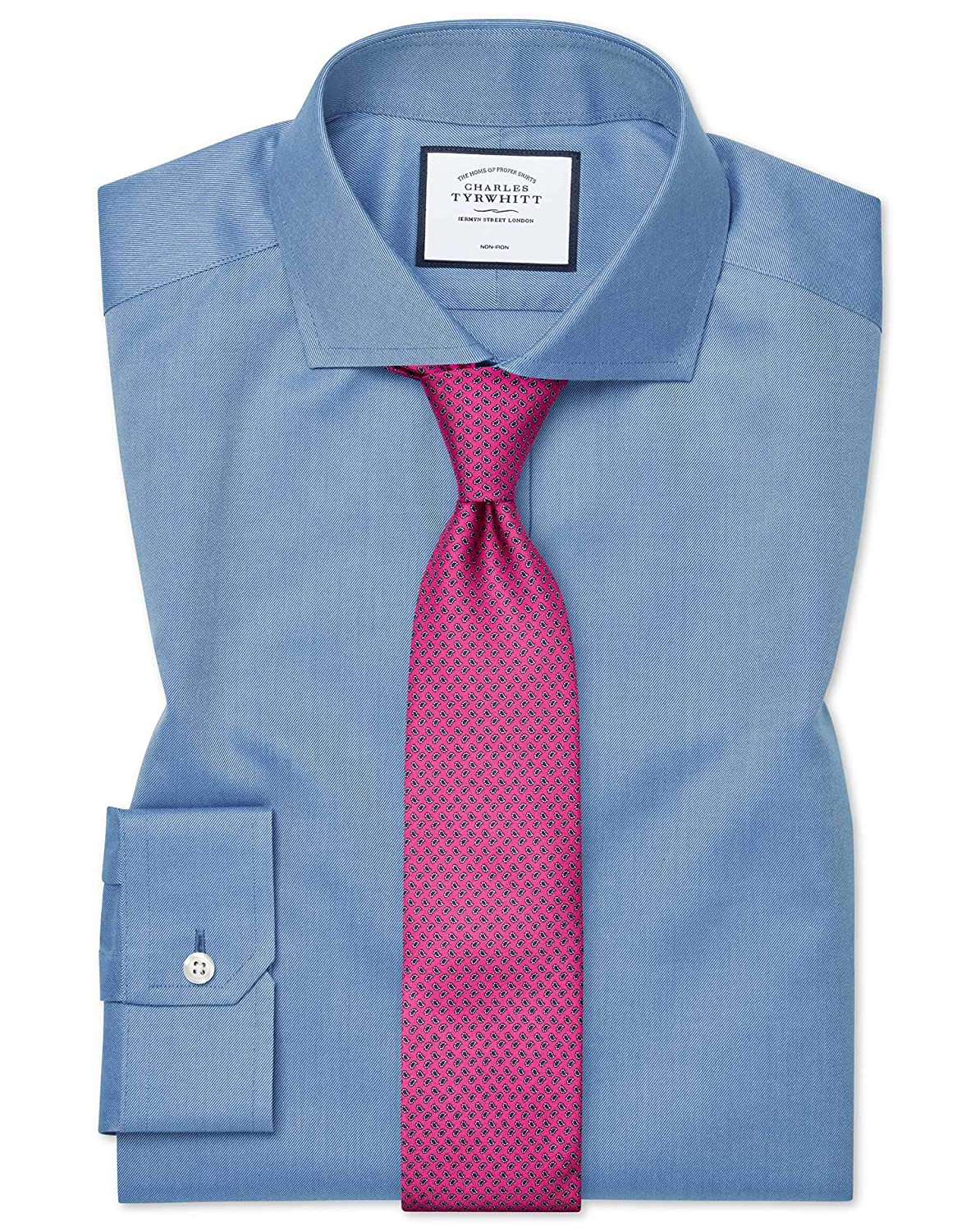 Chemise à Col Cutaway En Twill Bleue Super Slim Fit Sans Repassage   Bleu (Poignet Simple)   16   33