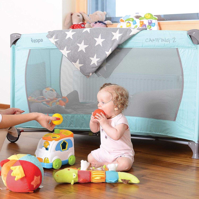 ZOPA Kinderreisebett Camping 2 120 x 60 cm mit Schlupfloch und praktischer Ablagetasche Griffin Grey klappbarer Kinderreisebett mit R/ädern