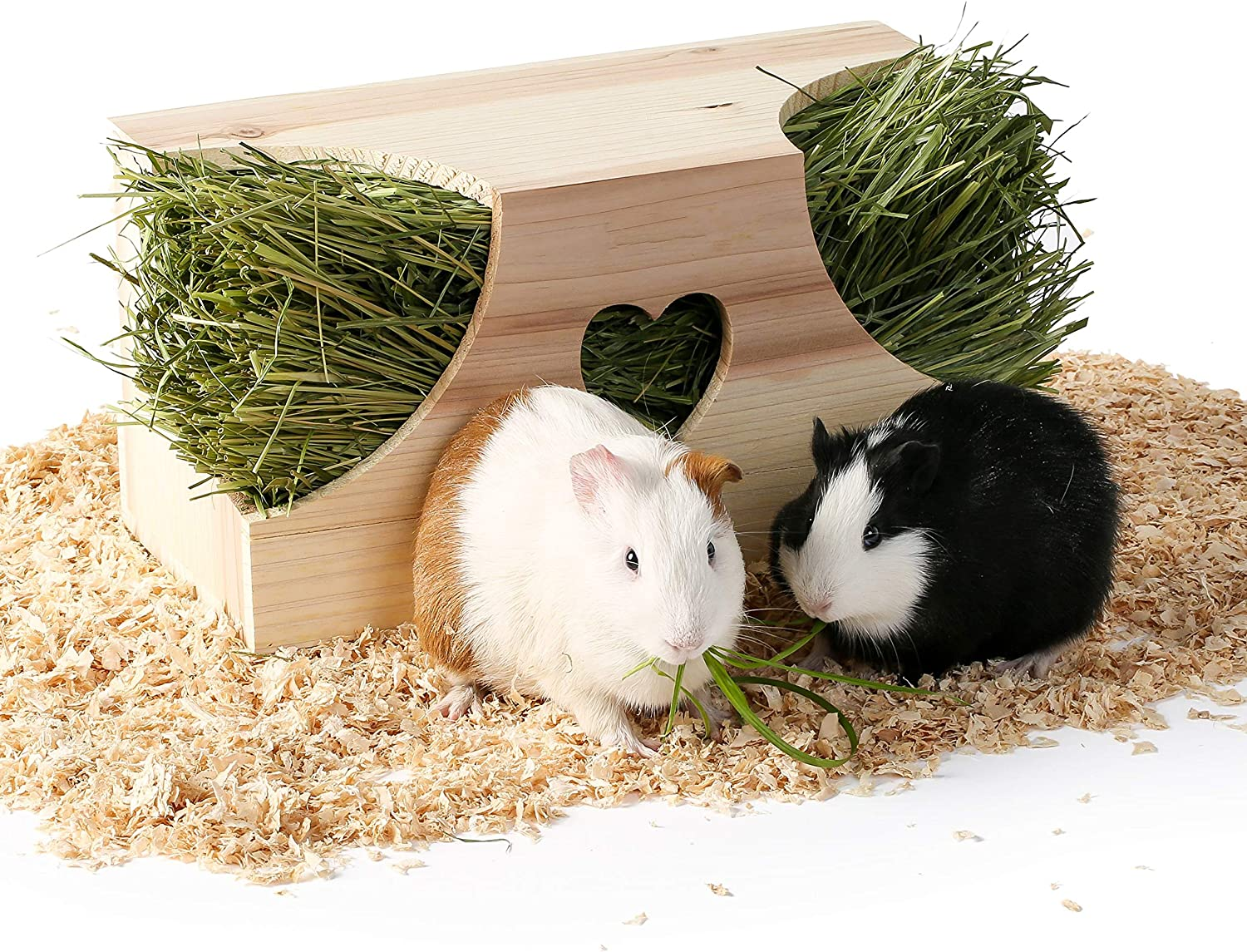 JanYoo Wood Hay Feeder for Guinea Pigs,Rabbit Hay Box Holder Large Hay Dispenser Hanging Standing for Cage