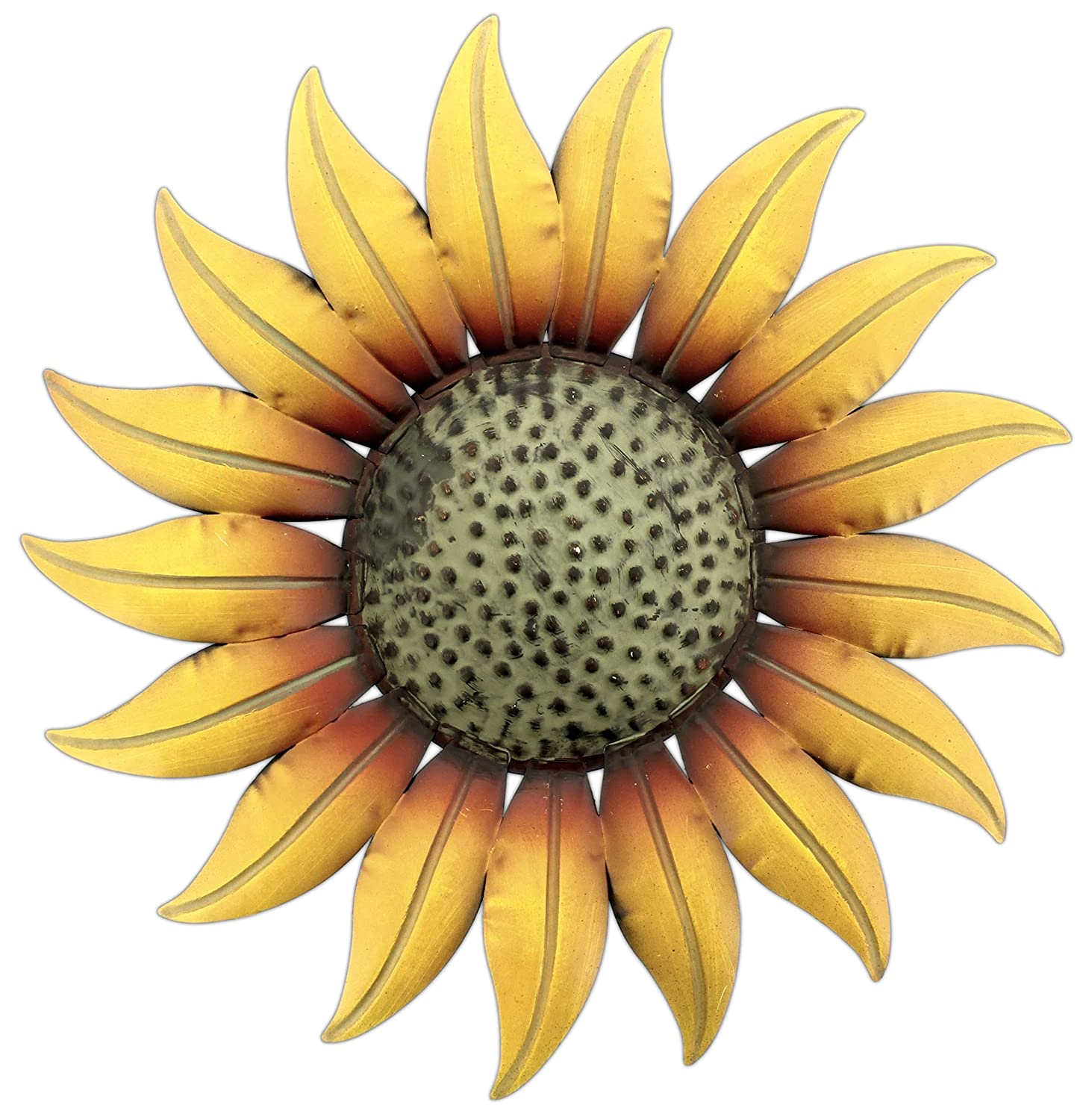 "Collectible Badges Metal Decorative 14"" Sunflower Wall Plaque"