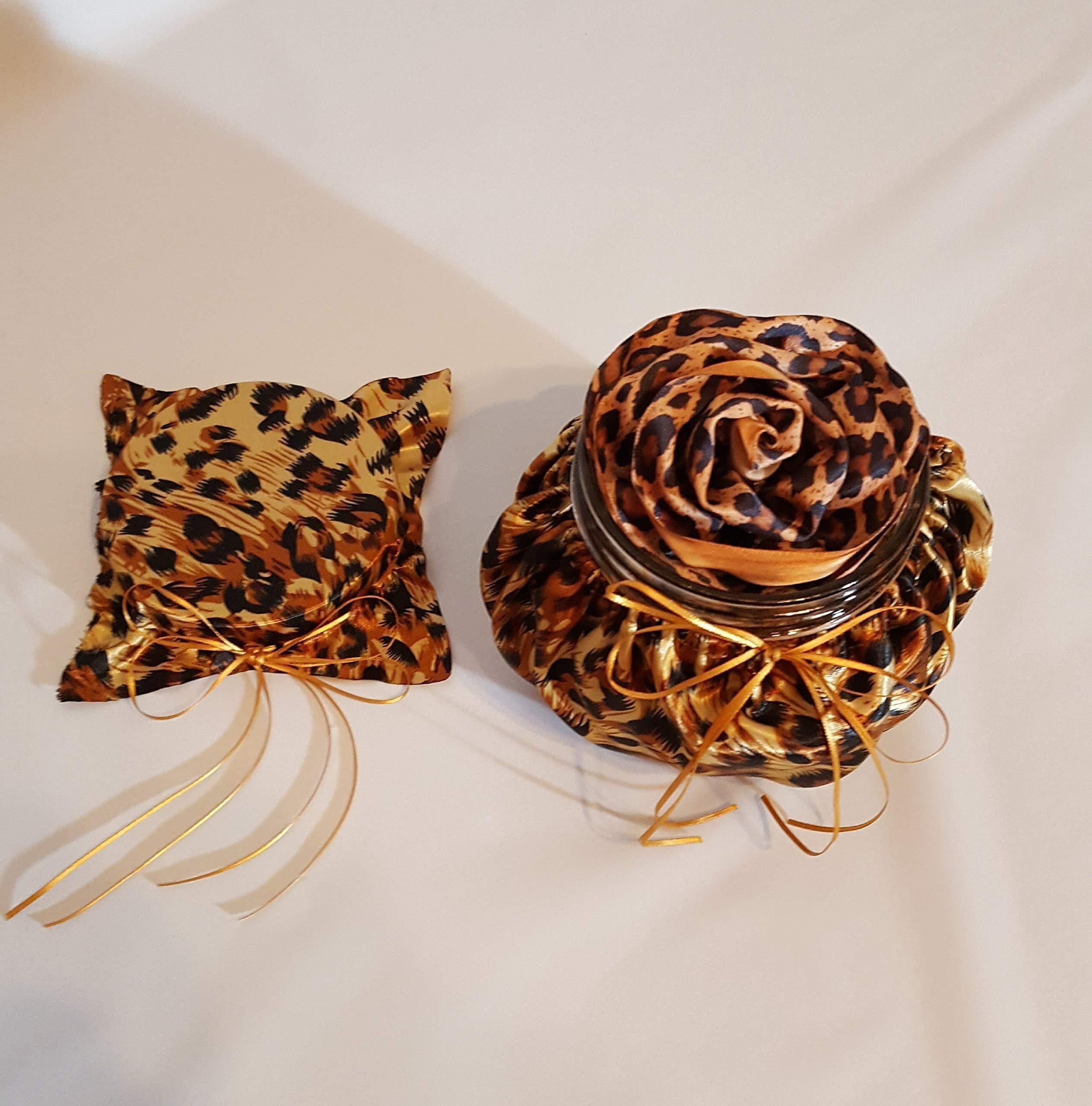 Handmade Scented Cheetah Animal Print Satin Ribbon Rose Head Room Air Freshener in a Cheetah Animal Print Fabric Covered Decorative Jar and Lid