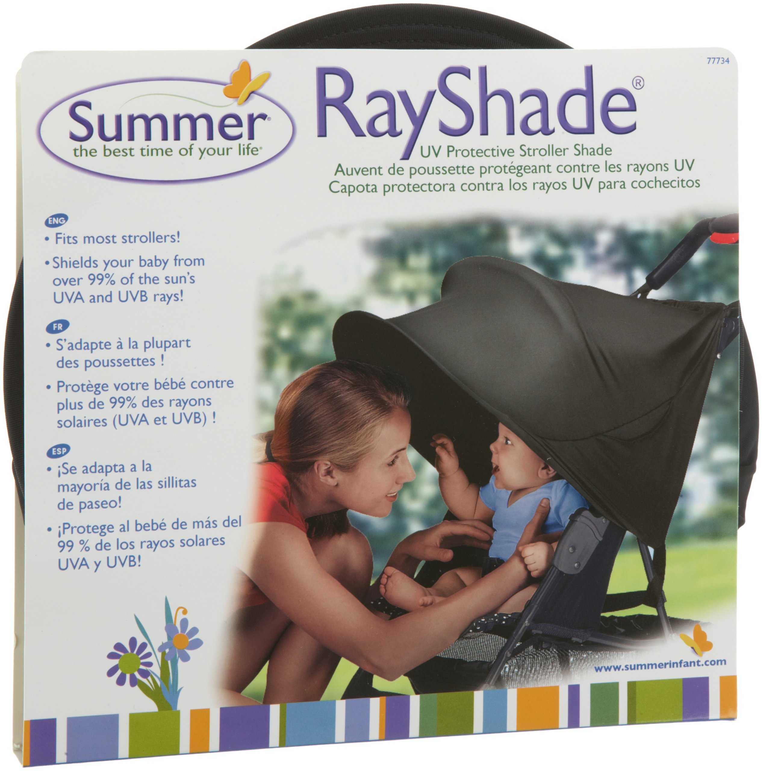 RayShade UV Protective Stroller Shade Improves Sun Protection for Strollers, Joggers and Prams Black (