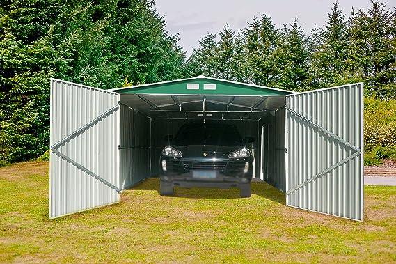 Guardini s p a GARDIUN KIS12963 - Garaje Metálico Norfolk 16 m² Exterior 420x380x232 cm Verde: Amazon.es: Jardín