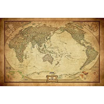 Vintage world map poster canvas detailed center australia waterproof vintage world map poster canvas detailed center australia waterproof map wall169x111cm gumiabroncs Image collections